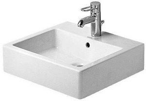 Duravit USA Vero® 1-Hole Wash Basin with Overflow in White Alpin D04545000601