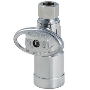 Watts Brass & Tubular KwikStop® CTS x OD Compression Straight Quarter-Turn Supply Stop in Polished Chrome WQC894S