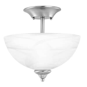 Thomas Lighting Tahoe 100 W 2-Light Medium Semi-Flush Mount Ceiling Fixture with Alabaster Glass TSL8614