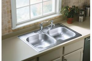 Sterling Plumbing Group Middleton® 33 x 22 in. 4-Hole 2-Bowl Kitchen Sink Bulk Pack S146334FNA