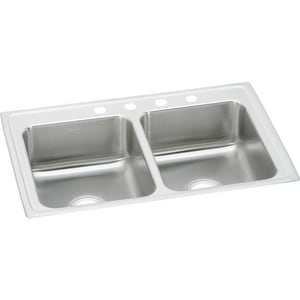 Elkay Gourmet® 2-Bowl Topmount Kitchen Sink Kit with Center Drain ELR3321
