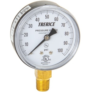 H.O. Trerice 2-1/2 x 1/4 in. 0-15 psi Lower Mount Steel Bar Gauge T800B2502LA080