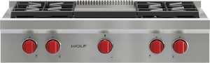 Wolf Range 36 in. 4-Burner Rangetop With Griddle WSRT364G