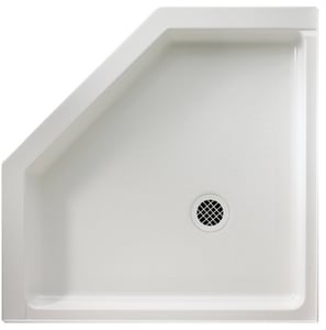 Swan Corporation 38 x 38 in. Solid Surface and Composite Neo-Angle Shower Base with Rear Center Drain SSN00038MD