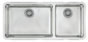 Franke Consumer Products Kubus 2-Bowl Undermount Kitchen Sink with Rear Center Drain in Stainless Steel FKBX12039