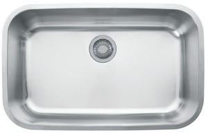 Franke Consumer Products Oceania 1-Bowl Undermount Kitchen Sink with Rear Center Drain in Stainless Steel FOAX110