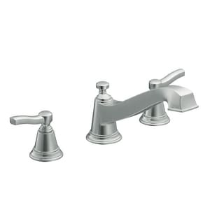 Moen Rothbury™ 3-Hole Roman Tub Faucet Low Arc Double Metal Lever Handle Deckmount MTS923