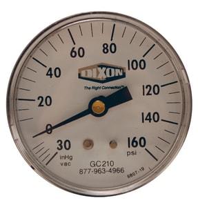 Dixon Valve & Coupling 2 x 1/4 in. Low Flow Indicator Center Back Mount Pressure Gauge DGC215