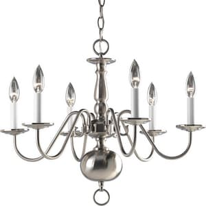 Progress Lighting Americana 60W 6-Light Candelabra E-12 Incandescent Chandelier PP4356