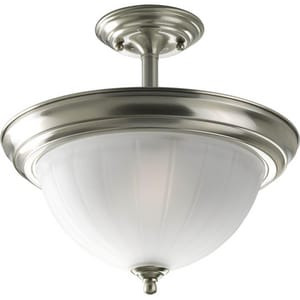 Progress Lighting Melon Glass 100W 2-Light Medium E-26 Incandescent Semi-Flush Ceiling Light PP3876