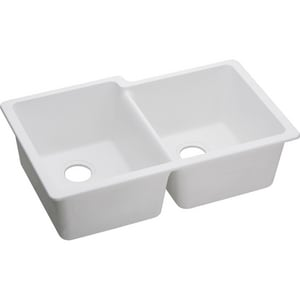 Elkay Quartz Classic 33 x 20-1/2 in. e-granite Double Bowl Under-Mount Sink EELGU250R0