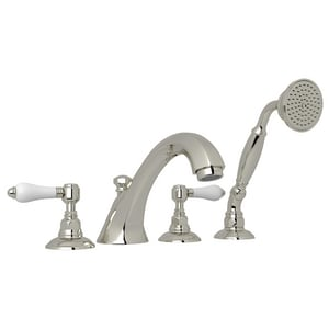 Rohl Palladian 4-Hole Deckmount Tub Filler Hand Shower with Double Lever Handle RA1904LM