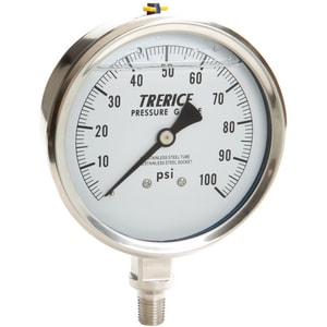 H.O. Trerice D80 Series 4 x 1/4 in. Stainless Steel Filled Pressure Gauge TD83LFSS4002LA