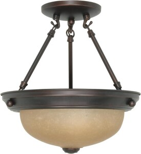 2-Light Semi-Flush Ceiling Light Fixture in Mahogany Bronze N601258