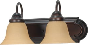 Nuvo Lighting 2 Light 100W 18 in. A19 Wall Mounted Vanity Light Bar with Champagne Linen Glass N601264