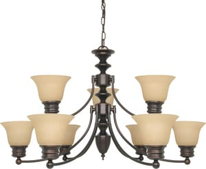 Nuvo Lighting Empire 60W 9-Light Medium Chandelier in Mahogany Bronze N601275