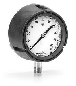 Weksler Instruments 4-1/2 x 1/4 in. Bronze Lower Mount Pressure Gauge in Stainless Steel WBA14YP4LW