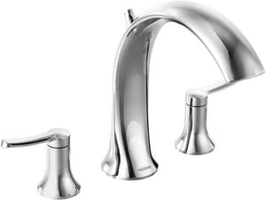 Moen Fina™ 3-Hole 19 gpm Roman Tub Faucet Trim with Double Lever Handle MTS21703