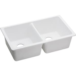 Elkay Quartz Classic 33 x 19 in. No-Hole Double Bowl Undermount Kitchen Sink EELGU33220