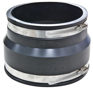 Fernco Clay x Asbestos Cement Fiber and Ductile Iron Flexible Coupling F1003WC