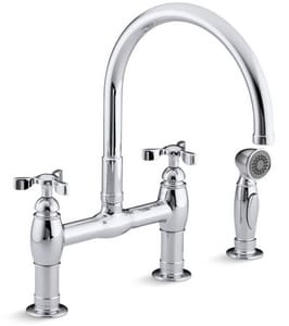 Kohler Parq® 1.8 gpm 8 in. 2-Handle Deck Mount Kitchen Sink Faucet 360° Swivel High Arc Spout Gooseneck Spout 3/8 in. Compression Connection K61313
