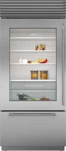 Sub Zero 36 in. Glass Door Stainless Steel Built-In Bottom-Freezer Refrigerator With Left-Hand Door Swing SBI36UGSPHLH