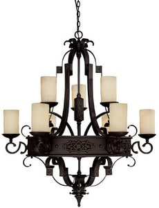 Capital Lighting Fixture River Crest 60W 9-Light Medium Incandescent Chandelier in Rustic Iron with Rust Scavo Glass Shade C3609RI125