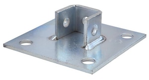 FNW Zinc Plated Four Hole Square Single Channel Post Base FNW7855Z