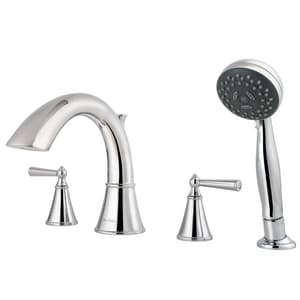 Pfister Saxton™ 4-Hole Roman Tub Faucet with Hand Shower and Double Lever Handle PRT64GL