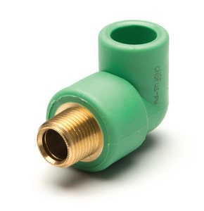 Aquatherm Greenpipe® Plain End x MIP Straight Brass and Polypropylene Transitional 90 Degree Elbow A01235