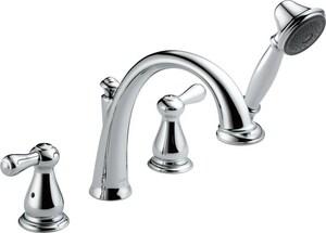 Delta Faucet Leland® Roman Tub Faucet with Hand Shower Double Lever Handle Deckmount (Trim Only) DT4775