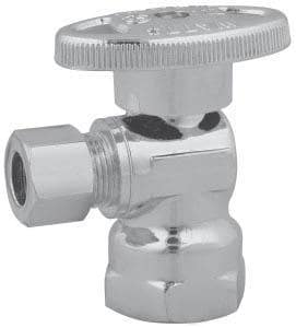 Watts Brass & Tubular KwikStop® 5/8 x 3/8 in. Compression Quarter Turn Straight Stop Ball Valve with Loose Key in Polished Chrome WBV8940LK