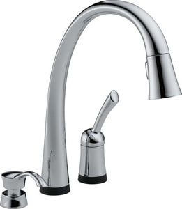 Delta Faucet Pilar® 1.8 gpm Single Lever Handle Deckmount Kitchen Sink Faucet with Soap Dispenser D980TSDDST