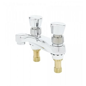 T&S Brass 0.5 gpm 2-Hole Deckmount Metering Faucet with Push-Button and Double Knob Handle in Polished Chrome TB083102VR
