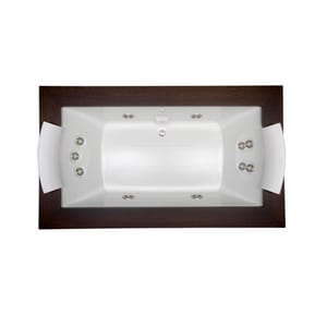 Jacuzzi Fuzion® 72 x 42 in. 11-Jet Acrylic Rectangle Drop-In or Undermount Spa Combination Bathtub with Center Drain and J5 LCD Control JFUZ7242CCR5IH
