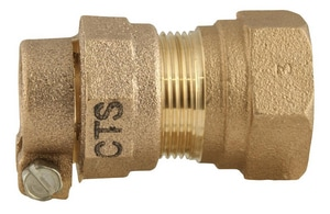 Ford Meter Box 3/4 x 1 in. Female Copper Threaded x CTS Pack Joint Brass Coupling FC0434NL