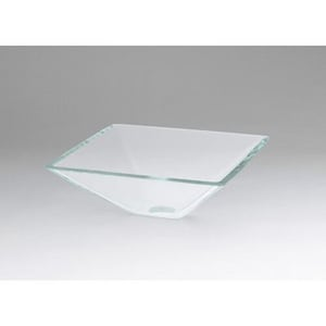 Ronbow Square Tempered Glass Cream Stone Vessel R420521