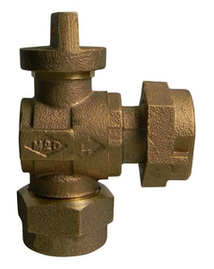 A.Y. McDonald CTS Compression x Meter Swivel Brass and Rubber Reducing Angle Lock Wing Ball Valve M74642BQG