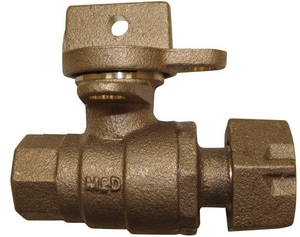 A.Y. McDonald 2 in. FNPT x Meter Flanged Brass Ball Valve Curb Stop with Lockwing M76101MWK