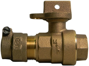 A.Y. McDonald 2 in. CTS Compression x FIP Brass Ball Curb Stop with Lockwing M76102W22K