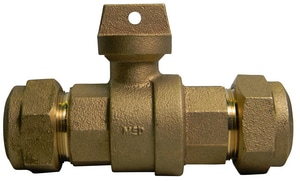 A.Y. McDonald 1-1/4 in. CTS Compression Brass Ball Valve Curb Stop M76100QHGH