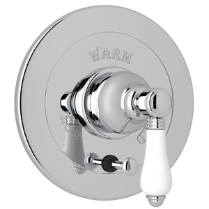 Rohl Italian Country Bath Pressure Balancing Valve Trim with Single Lever Handle, Integrated Volume Control and Diverter RA7400LP