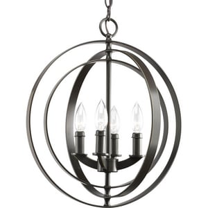 Progress Lighting Equinox 4 Light 60W Sphere Foyer Lantern with Pivoting Interlocking Rings PP3827