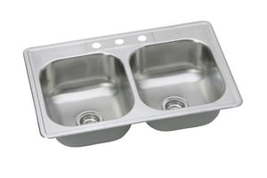 PROFLO® Bealeton 33 x 22 in. 23 ga 2-Bowl Kitchen Sink in Stainless Steel PFSR33226BP