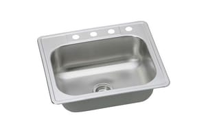 PROFLO® Bealeton 25 x 22 x 7-63/100 in. 22 ga 4-Hole Single Bowl Drop-In Kitchen Sink PFSR252264BP
