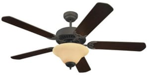 Seagull Lighting Quality Pro Deluxe 52 in. Quality Pro Deluxe Ceiling Fan in Roman Bronze With Champagne Scavo Glass S15161B191