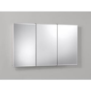 Jensen Ashland 48 in. Tri-View Frameless/Beveled Medicine Cabinet in Classic White R755296