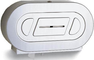Bobrick Twin Jumbo Roll Toilet Paper Dispenser in Stainless Steel BB2892