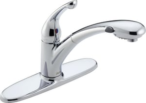 Delta Faucet Signature™ 1.5 gpm 8 in. Single-Handle Deck Mount Kitchen Sink Faucet 120° Swivel Pull Out Spout 3/8 in. Compression Connection D470WEDST