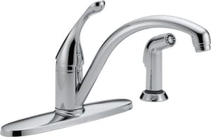 Delta Faucet Collins™ 1.5 gpm 4-Hole Single Lever Handle Deckmount Kitchen Sink Faucet 180 Degree Swivel Spout 3/8 in. Compression Connection D440WEDST